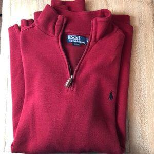 Men's polo Ralph Lauren L red half zip sweater